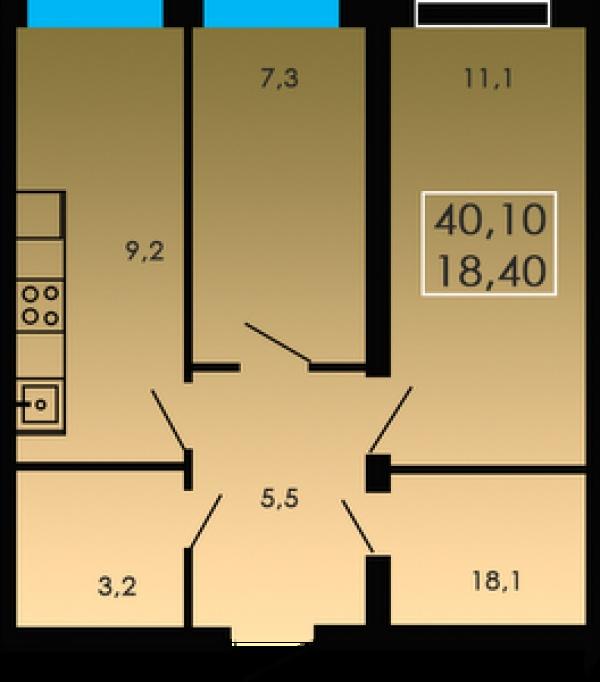 Планировки двухкомнатных квартир 40.1 м^2